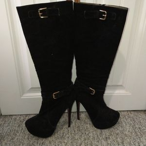 Knee high heeled black faux suede stiletto boots